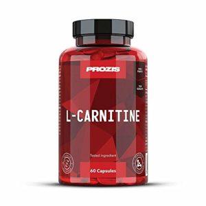 Prozis 100% Pure L-Carnitine en gélules 1500mg – Complément d'acides aminés de haute qualité pour la perte de poids, le mental et plus d'énergie – 60 gélules !