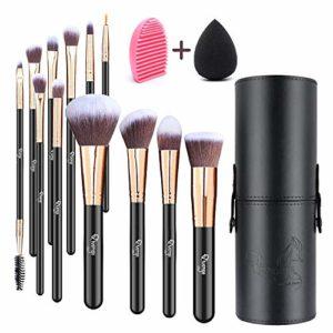Qivange Lot de 12pinceaux de maquillage avec support, Vegan Lot de pinceaux + Mélange éponge et brosse de maquillage Cleaner (Noir avec or rose)
