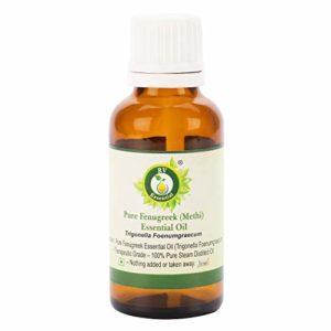 R V Essential Huile essentielle pur de fenugrec (Methi) 10ml (0.338oz) – Trigonella Foenumgraecum (100% Pur et naturelle Distillée vapeur) Pure Fenugreek (Methi) Essential Oil