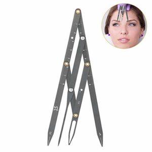Règle des sourcils, règle d'or en acier inoxydable avec rapport doré des mesures du sourcil, règle d'équilibre de positionnement pour l'outil de mesure de maquillage permanent(nero)