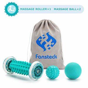 Rouleau de massage, masseur Fansteck pour pieds et mains, pour soulager la douleur causée par la fasciite plantaire, les muscles, le col utérin, les poignets, etc. Avec 2 boules de massage.