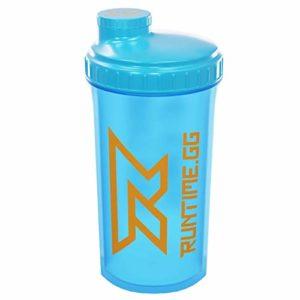 Runtime Shaker pour protéines | Gourde Sport pour la nutrition et le fitness | Contenance 700 ml | avec tamis – 100% hermétique | sans bisphénol A – avec échelle de mesure (Neon Blue)