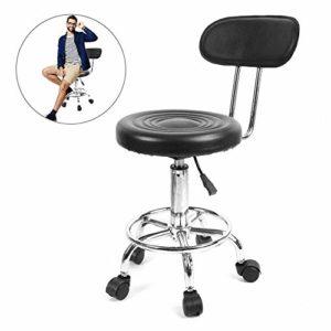 Salon Tabouret, hauteur réglable de travail Tabouret Cosmétique pivotant avec roulettes, coiffure Styling Chaise de barbier de massage Beauté Tattoo Studio