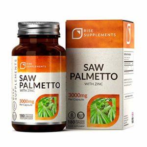 Saw Palmetto 20:1 Capsules – 3000 mg par capsule | Extrait naturel de Palmier Nain concentré pour la santé reproductive masculine | 120 capsules végétariennes