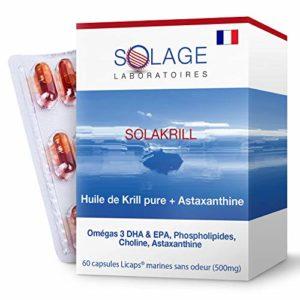 SOLAKRILL – 100% d'huile de krill pure Neptune (NKO®)- 500mg – 60 Licaps® SANS ODEUR – Omégas 3 DHA et EPA: phospholipides + Astaxanthine + Choline – Satisfait ou remboursé – Laboratoires SOLAGE