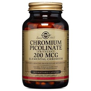 Solgar Chromium Picolinate 200 mcg Vegetable Capsules, 180 V Caps 200 mcg