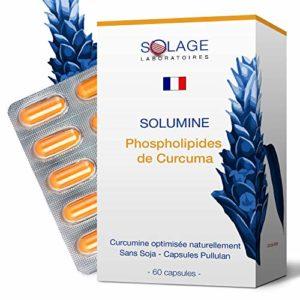 SOLUMINE – PHYTOSOME DE CURCUMA (curcumine phospholipidique) 29 FOIS plus ASSIMILABLE – Extrait à l'efficacité prouvé – Puissant antioxydant et anti-inflammatoire – 60 capsules – Laboratoires SOLAGE