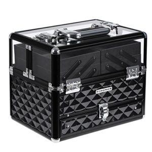 SONGMICS Beauty case Coffret cosmétique valise de maquillage Boîte à bijoux Coffrets professionnelle boîte de rangement couvercle transparent en acrylique plateaux déployés JBC318B