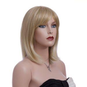 Songmics Nouvelle Perruque Femme Blond Raide Droite Moyenne 40 cm WFY136