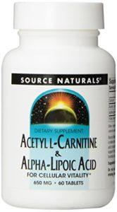 Source Naturals, Acétyle L Carnitine & Acide Lipoic d'alpha ( Acetyl L-Carnitine & Alpha Lipoic Acid ) 650mg x 60tabs