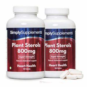 Stérols Végétaux (Plant Sterols) 800mg, 360 (2×180) Comprimés, Aide à Réduire le Cholestérol, Végétarien, Fabriqué au Royaume-Uni