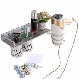 Support pour sèche-cheveux,Aiyoo Cheveux Sèche-cheveux Rack,sèche cheveux à suspendre Organiseur de rack,portable spirale Sèche-cheveux à suspendre support plat,Aluminium,fixation murale avec 2 tasses