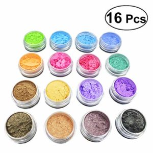 supvox Glitter Powder Soap Dye Mica Powder Pigment Ombre à paupières Lip Gloss Face ongles d'Art vernis à ongles Pigment Powder Making colorant set de 16 Films