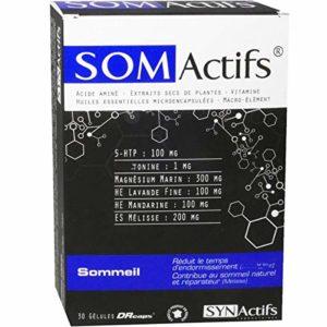 SYNActifs – SOMactifs – Complément alimentaire pour retrouver un sommeil serein et naturel – Mélatonine, Acides Aminés, Huiles essentielles microencapsulées et des Plantes – Lot de 2 x 30 Gélules
