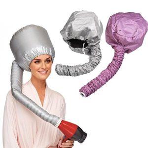 UCTOP STORE2 – Bonnet souple – Hotte portable – Sèche cheveux – Pour femme – Soin des cheveux – (L'un est argenté, l'autre est rose) – Sûr