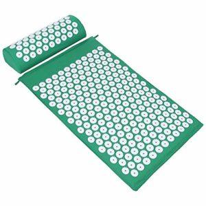 ValueHall Kit d'acupression, Tapis de Massage d'Acupression et Coussin d'Acuponcture avec Oreiller V7009-1 (vert)