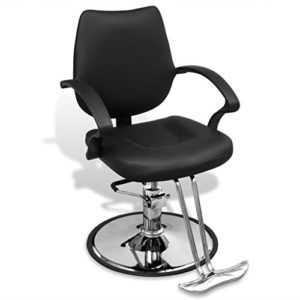 vidaXL Fauteuil de coiffure salon de coiffure professionnel en cuir artificiel noir