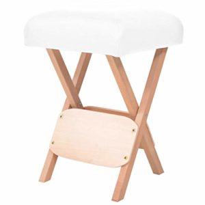 vidaXL Tabouret de Massage Pliant avec Siège 12 cm d'Epaisseur Blanc Chaise