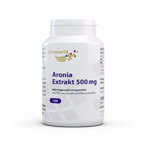 Vita World Pack de 3 Aronia extrait 500mg 3 x 120 capsules avec 2% de proanthocyanidines (PAC) Made in Germany