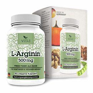 VITA1 L-Arginine 500 mg • 90 gélules (alimentation 2 semaines) • pour le traitement diététique de la dysfonction vasculaire • Fabriqué en Allemagne