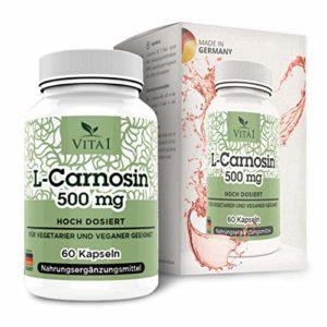 VITA1 L-Carnosine 500 mg • 60 capsules (alimentation pour 1moi) • Super Antioxydant pour l'anti-vieillissement • Sans gluten, végétalien, kosher et halal • Fabriqué en Allemagne