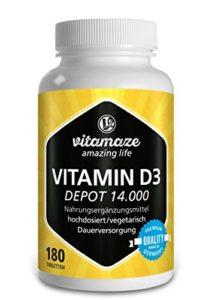 Vitamine D3 à libération prolongée 14.000 UI fortement dosée (dose pour 14 jours) 180 comprimés végétariens, produit de qualité allemand, maintenant au prix promotionnel, 30 jours de reprise gratuite
