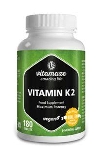 Vitamine K2 certifiée, à fort dosage 200µg Ménachinone MK7-180 comprimés végétaliens pour 6 mois Produit de qualité Made-in-Germany sans stéarate de magnésium