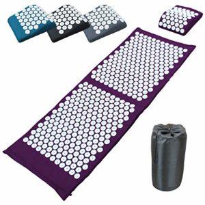 Vivezen ® Tapis et coussin d'acupression 130 x 50 cm + sac de transport – 4 coloris – Norme CE