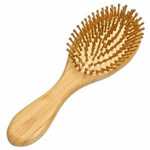 Westeng – Brosse à cheveux d'1 pièce – En bambou naturel et en bois anti statique – Coussin en forme de pagaie – Brosse de Massage.