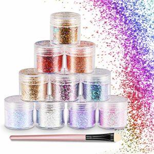WOSTOO Maquillage Paillettes Set, 10 Pcs Cosmétique Holographique Chunky Glitter Corps et Cheveux Glitter pour Festival Party Masquerade De Noël