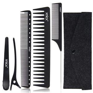 xnicx noir coiffeur coiffure peigne de barbier 100% antistatique jusqu'à 230 ℃ résistant à la chaleur peigne de coupe peigne démêloir peigne à queue pinces à cheveux