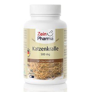 ZeinPharma Griffe de chat 500mg • 90 Capsules (alimentation pour 1 mois) • Sans gluten, Vegan, kosher & halal • Fabriqué en Allemagne