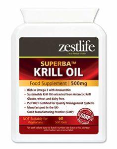 Zestlife SUPERBA KRILL 500mg 60 – Facile à avaler les capsules molles | Durable pêché par Aker BioMarine |