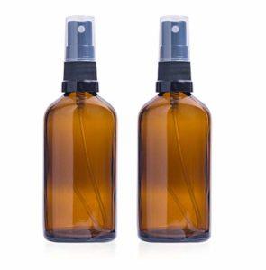 2 x vide 100ml bouteilles en verre ambré avec 3 x Black Fine brume pulvérisateurs, conteneur réutilisable pour les huiles essentielles, produits de nettoyage ou aromathérapie