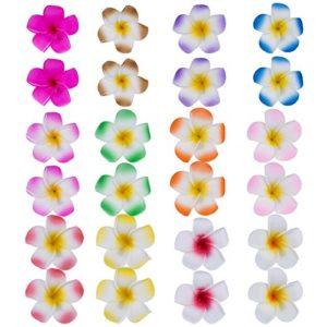24 Pièces 2,4 Pouces Fleur de Plumeria Pinces à Cheveux Mousse