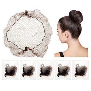 30 Pièces Filets à Cheveux Invisible Élastique de Bord Maille pour Perruque et Chignon de Fixation de Cheveux des Femmes, Café