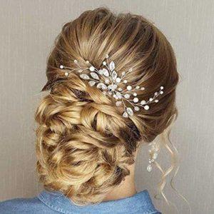 Accessoire de cheveux en cristaux Simsly pour mariée et demoiselle d'honneur – Argenté – FS-28