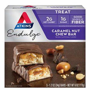 Atkins, Endulge, Noix de Caramel mastiquable, 5 barres, 1,2 oz (34 g) de chaque