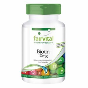 Biotine 10 mg – boite de 200 jours – HAUTE DOSE – VEGAN – 200 comprimés – vitamine B7