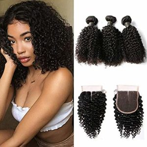 BIPLE 3 Boules Mèches Plus le Frontal Bresilienne Kinky Curly Cheveux Tissages Extensions Humains Hair 8″
