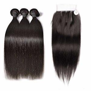 BLISSHAIR Mèches Brésiliennes Tissage Cheveux Naturel Humain Hair Perruque 8″ 10″ 12″ lisse avec 8″ closure