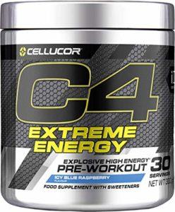 Cellucor – Poudre pré-entraînement C4 Extreme Energy – énergie explosive – framboise bleue glacée – 30 portions
