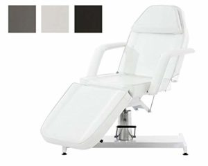 CLP Fauteuil de Massage Hydraulique V2 Similicuir I Hauteur Réglable en Continue Accoudoir Amovibles Chaise Cosmétique Multifonction Réglable en Position Horizontale I Couleur: Blanc
