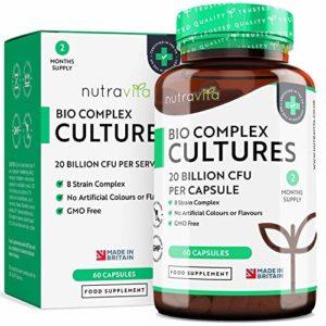 Cultures Bio Complexes | 20 milliards d'UFC avec 8 souches de bactéries | Capsules à libération prolongée de forte puissance | Fabriqué au Royaume-Uni par Nutravita