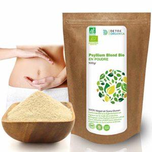 Detox Organica Psyllium Blond Bio Poudre-Tégument de psyllium Organic-500 g – Végétal Riche en Fibres 100% Naturel et Vegan