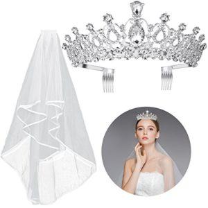 Diadème Frcolor en cristal – Avec voile et peigne inclus – Pour mariée