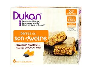 Dukan Barres de Son d'Avoine Saveur Orange/Nappage Chocolat Noir 150 g – Lot de 6