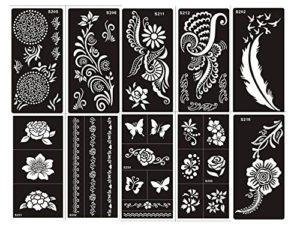 Ensemble de 10feuilles de pochoirs designs henné à usage unique pour le corps. Convient également aux tatouages pailletés ou à l'aérographe
