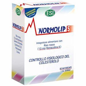 ESI Normolip 5 | Complément Alimentaire Naturel Pour Le Contrôle Du Cholestérol | Avec Levure de Riz Rouge, Monacoline K et Coenzyme Q10 | 60 Capsules