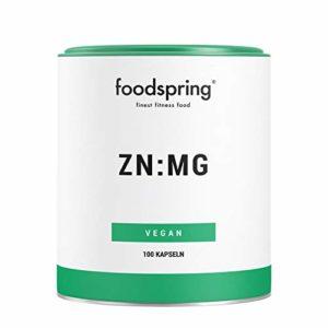 foodspring ZN:MG, 100 gélules, Zinc et magnésium pour de meilleures performances, Fabriqué en Allemagne